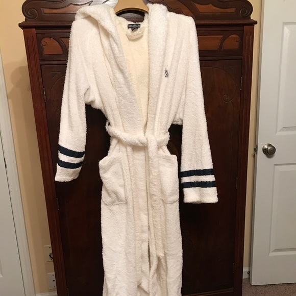 Nautica Other | Mens White With Navy Accents Hooded Robe | Poshmark